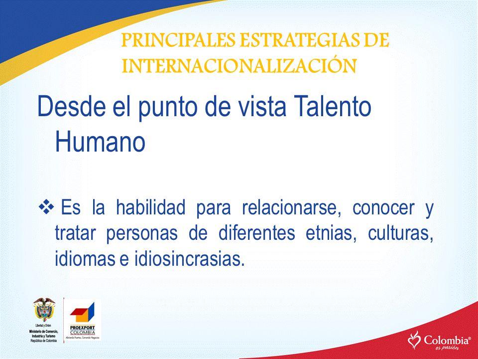 PRINCIPALES ESTRATEGIAS DE INTERNACIONALIZACIÓN Desde el punto de vista Talento Humano Es la habilidad para relacionarse, conocer y tratar personas de