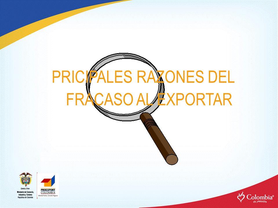 PRICIPALES RAZONES DEL FRACASO AL EXPORTAR