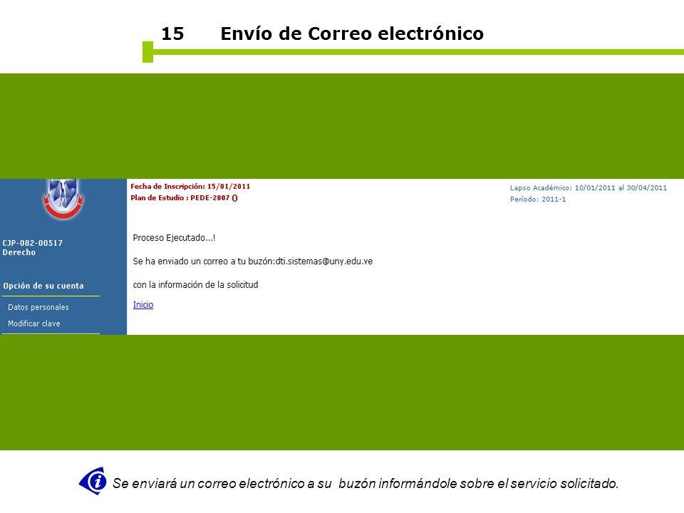 15 Envío de Correo electrónico Se enviará un correo electrónico a su buzón informándole sobre el servicio solicitado.