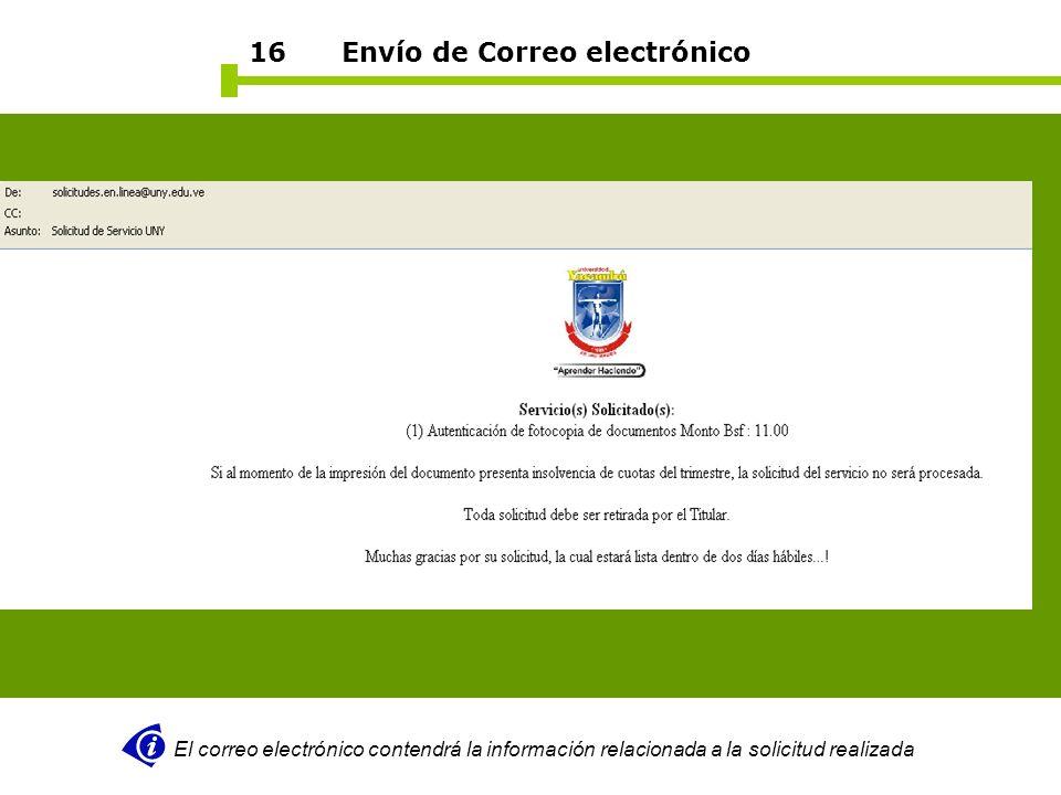 16 Envío de Correo electrónico El correo electrónico contendrá la información relacionada a la solicitud realizada