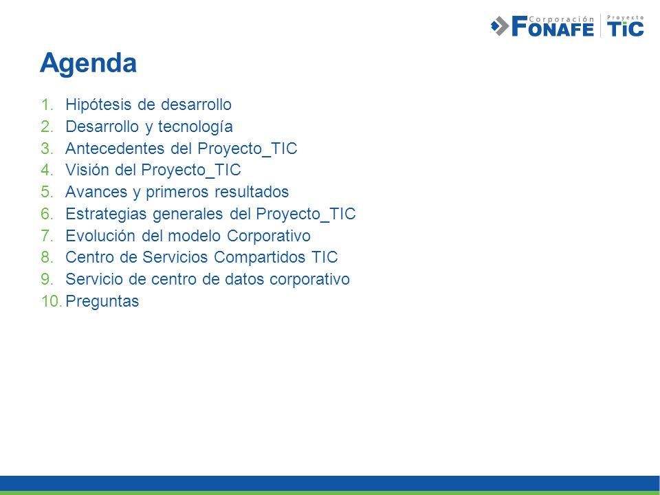 Agenda 1.Hipótesis de desarrollo 2.Desarrollo y tecnología 3.Antecedentes del Proyecto_TIC 4.Visión del Proyecto_TIC 5.Avances y primeros resultados 6