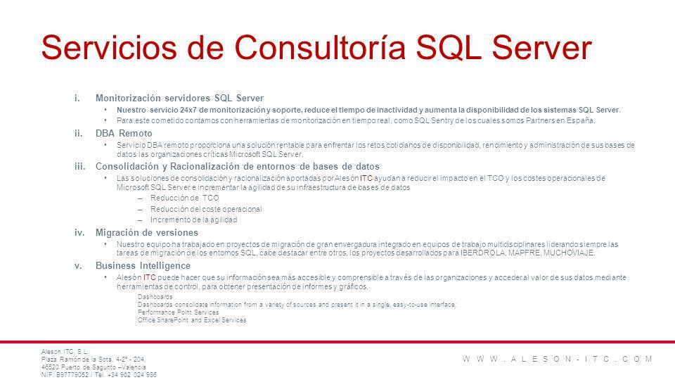 Servicios de Consultoría SQL Server i.Monitorización servidores SQL Server Nuestro servicio 24x7 de monitorización y soporte, reduce el tiempo de inac