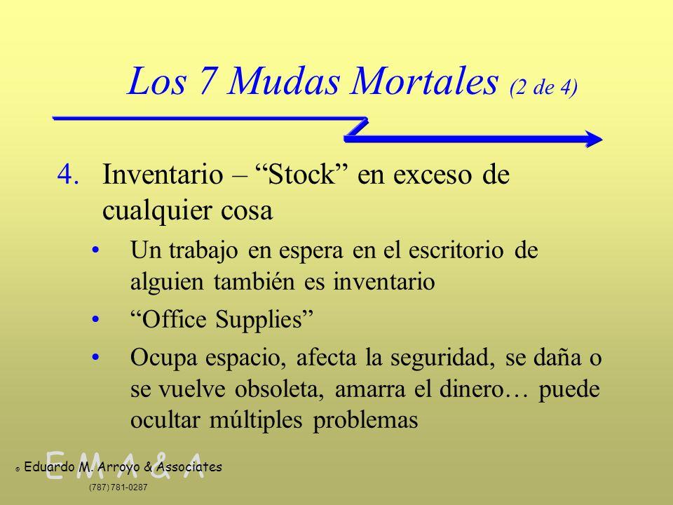 E M A & A © Eduardo M. Arroyo & Associates (787) 781-0287 Los 7 Mudas Mortales (2 de 4) 4.Inventario – Stock en exceso de cualquier cosa Un trabajo en