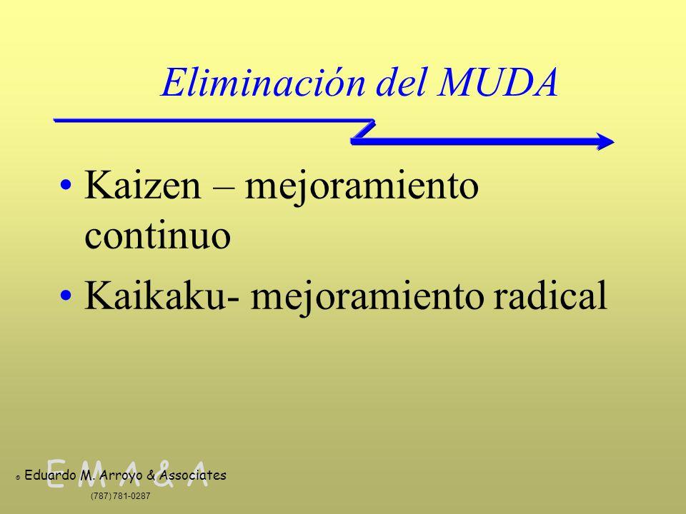 E M A & A © Eduardo M. Arroyo & Associates (787) 781-0287 Eliminación del MUDA Kaizen – mejoramiento continuo Kaikaku- mejoramiento radical