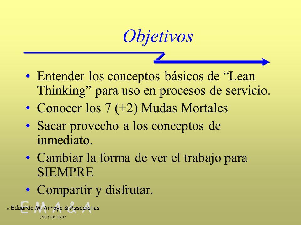 E M A & A © Eduardo M. Arroyo & Associates (787) 781-0287 Objetivos Entender los conceptos básicos de Lean Thinking para uso en procesos de servicio.