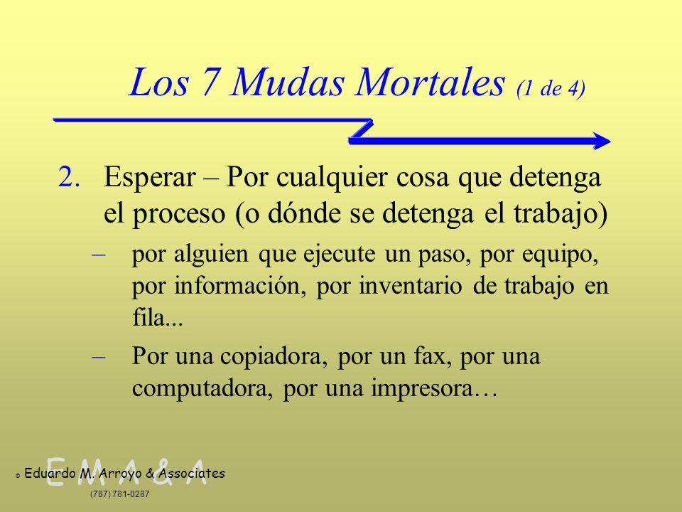 E M A & A © Eduardo M. Arroyo & Associates (787) 781-0287 Los 7 Mudas Mortales (1 de 4) 2.Esperar – Por cualquier cosa que detenga el proceso (o dónde