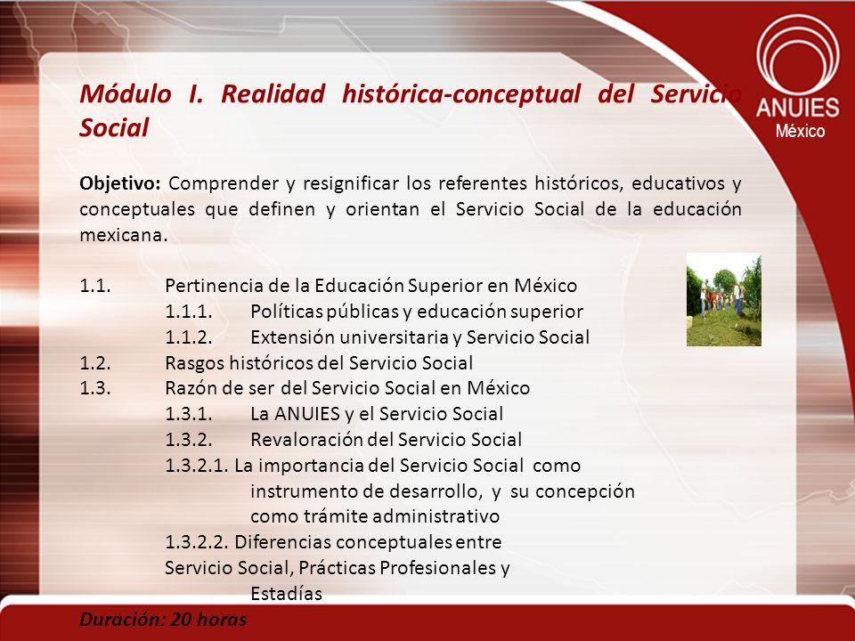 México Módulo I. Realidad histórica-conceptual del Servicio Social Objetivo: Comprender y resignificar los referentes históricos, educativos y concept