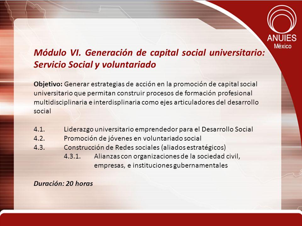 México Módulo VI. Generación de capital social universitario: Servicio Social y voluntariado Objetivo: Generar estrategias de acción en la promoción d