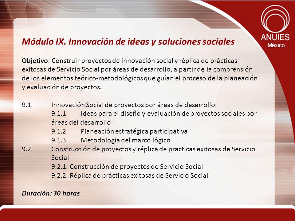 México Módulo IX. Innovación de ideas y soluciones sociales Objetivo: Construir proyectos de innovación social y réplica de prácticas exitosas de Serv