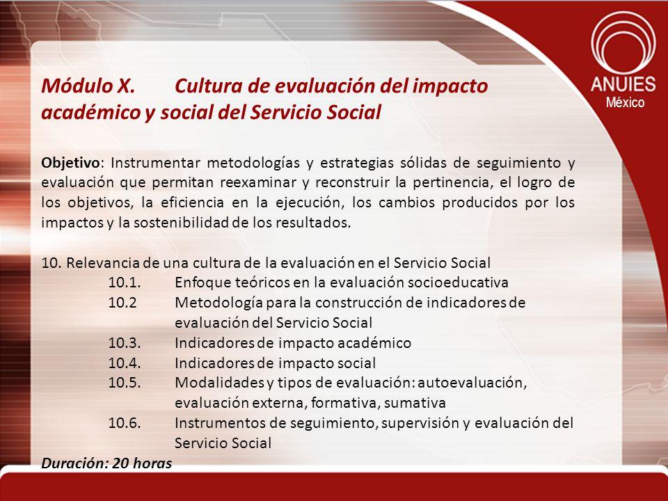México Módulo X. Cultura de evaluación del impacto académico y social del Servicio Social Objetivo: Instrumentar metodologías y estrategias sólidas de
