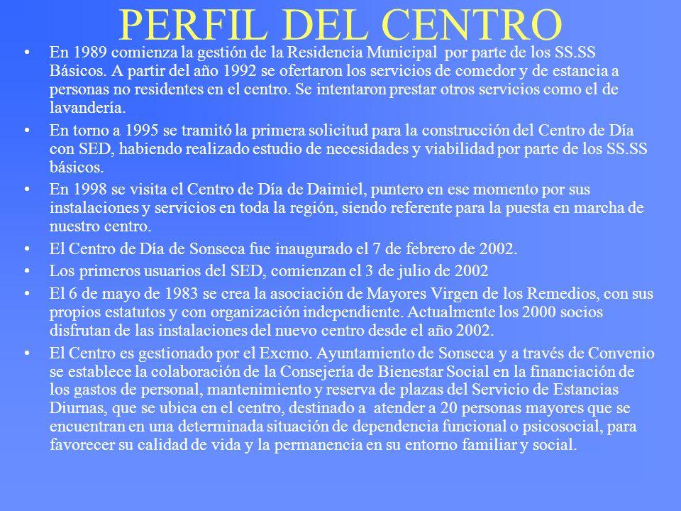 PERFIL DEL CENTRO En 1989 comienza la gestión de la Residencia Municipal por parte de los SS.SS Básicos. A partir del año 1992 se ofertaron los servic