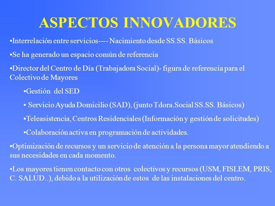 ASPECTOS INNOVADORES Interrelación entre servicios---- Nacimiento desde SS.SS. Básicos Se ha generado un espacio común de referencia Director del Cent