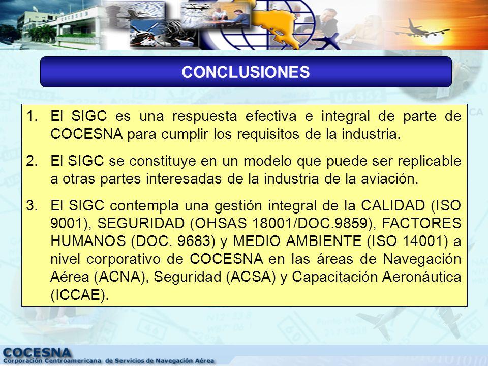 CONCLUSIONES SISTEMA INTEGRADO DE GESTIÓN DE COCESNA(SIGC)