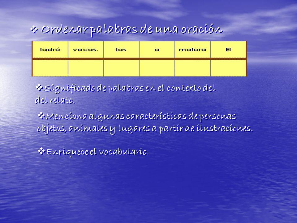 Ordenar palabras de una oración Significado de palabras en el contexto del del relato. Significado de palabras en el contexto del del relato. Menciona