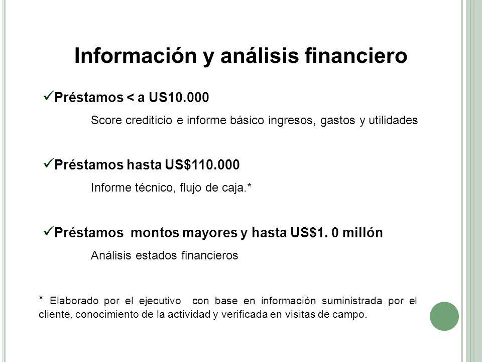 Información y análisis financiero Préstamos < a US10.000 Score crediticio e informe básico ingresos, gastos y utilidades Préstamos hasta US$110.000 In