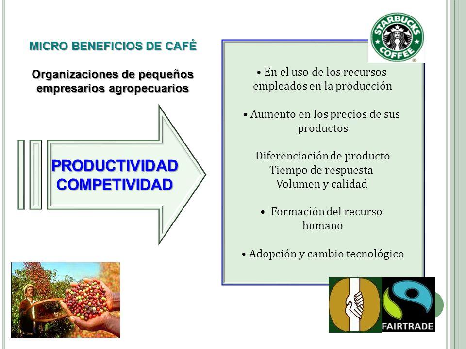 PRODUCTIVIDADCOMPETIVIDAD En el uso de los recursos empleados en la producción Aumento en los precios de sus productos Diferenciación de producto Tiem