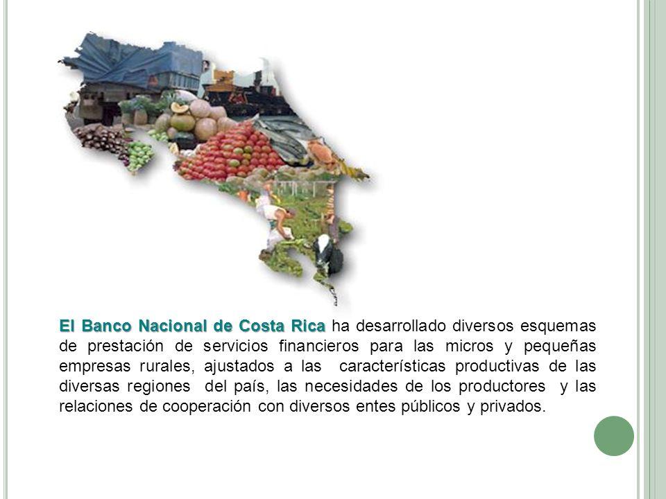 El Banco Nacional de Costa Rica El Banco Nacional de Costa Rica ha desarrollado diversos esquemas de prestación de servicios financieros para las micr