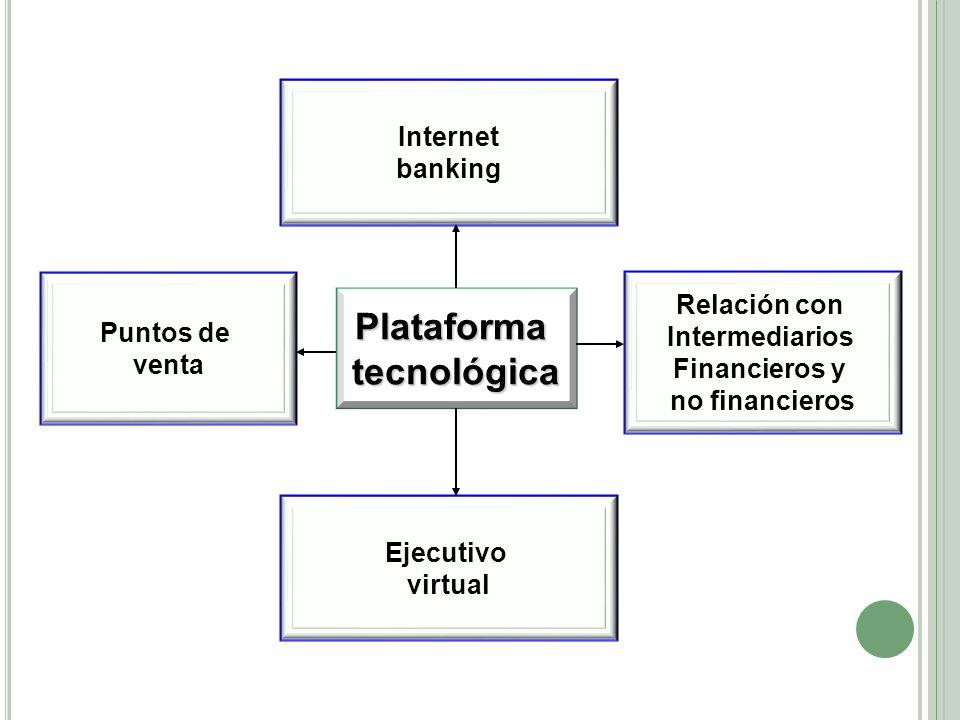 Plataformatecnológica Ejecutivo virtual Relación con Intermediarios Financieros y no financieros Internet banking Puntos de venta