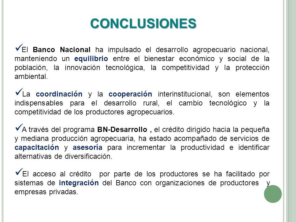 CONCLUSIONES El Banco Nacional ha impulsado el desarrollo agropecuario nacional, manteniendo un equilibrio entre el bienestar económico y social de la