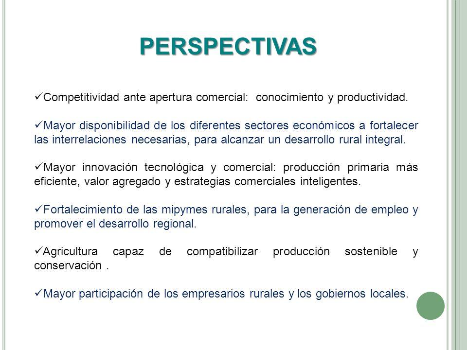 PERSPECTIVAS Competitividad ante apertura comercial: conocimiento y productividad. Mayor disponibilidad de los diferentes sectores económicos a fortal