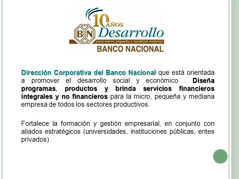 Dirección Corporativa del Banco Nacional Diseña programasproductos y brindaservicios financieros integrales y no financieros Dirección Corporativa del