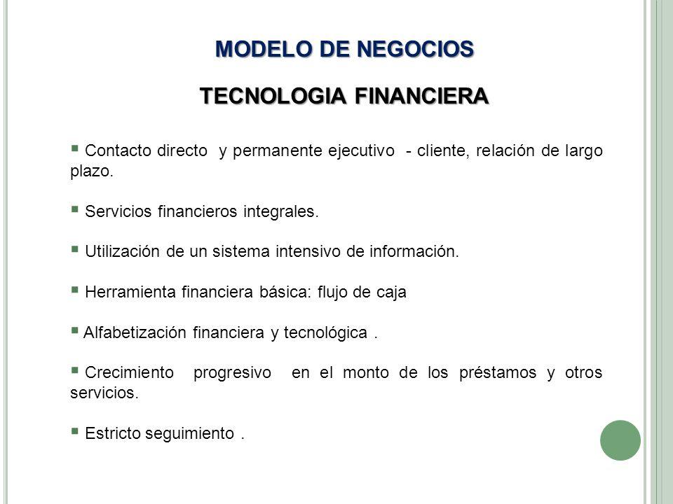 MODELO DE NEGOCIOS TECNOLOGIA FINANCIERA Contacto directo y permanente ejecutivo - cliente, relación de largo plazo. Servicios financieros integrales.