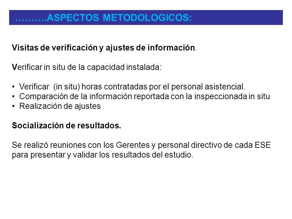 Visitas de verificación y ajustes de información. Verificar in situ de la capacidad instalada: Verificar (in situ) horas contratadas por el personal a
