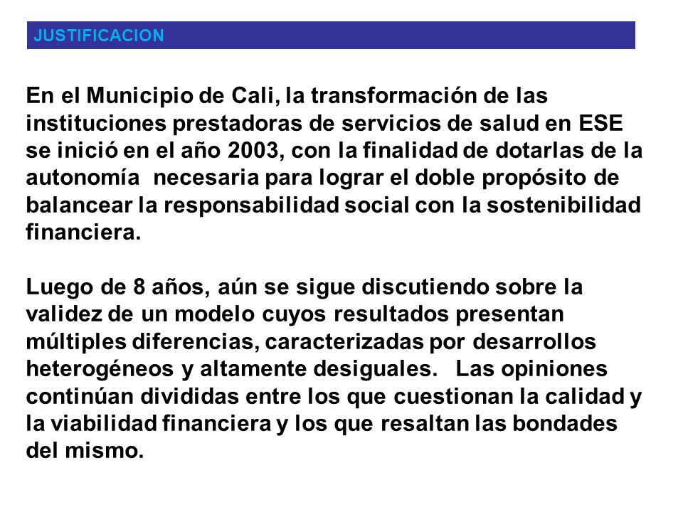 En el Municipio de Cali, la transformación de las instituciones prestadoras de servicios de salud en ESE se inició en el año 2003, con la finalidad de