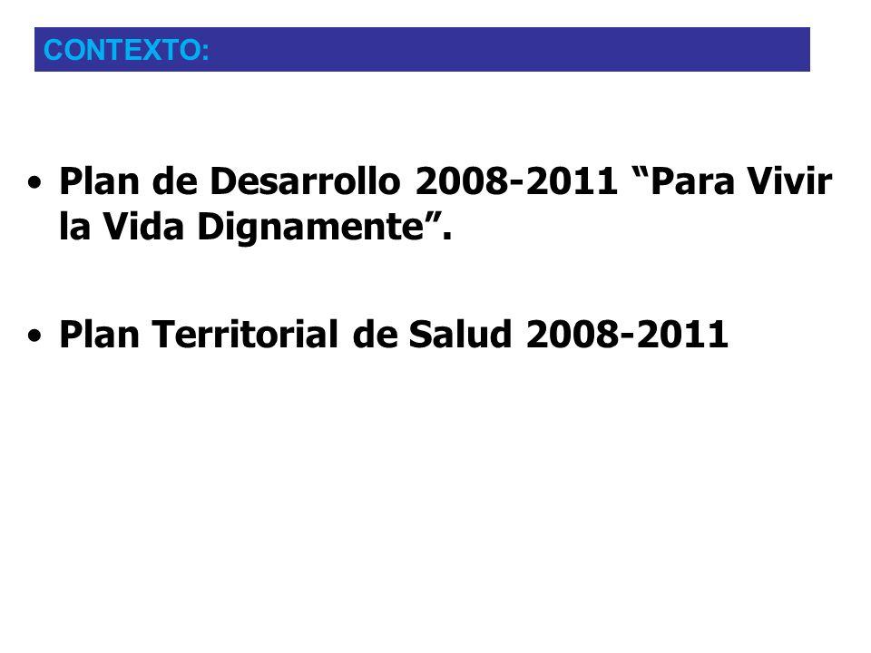 Plan de Desarrollo 2008-2011 Para Vivir la Vida Dignamente. Plan Territorial de Salud 2008-2011 CONTEXTO: