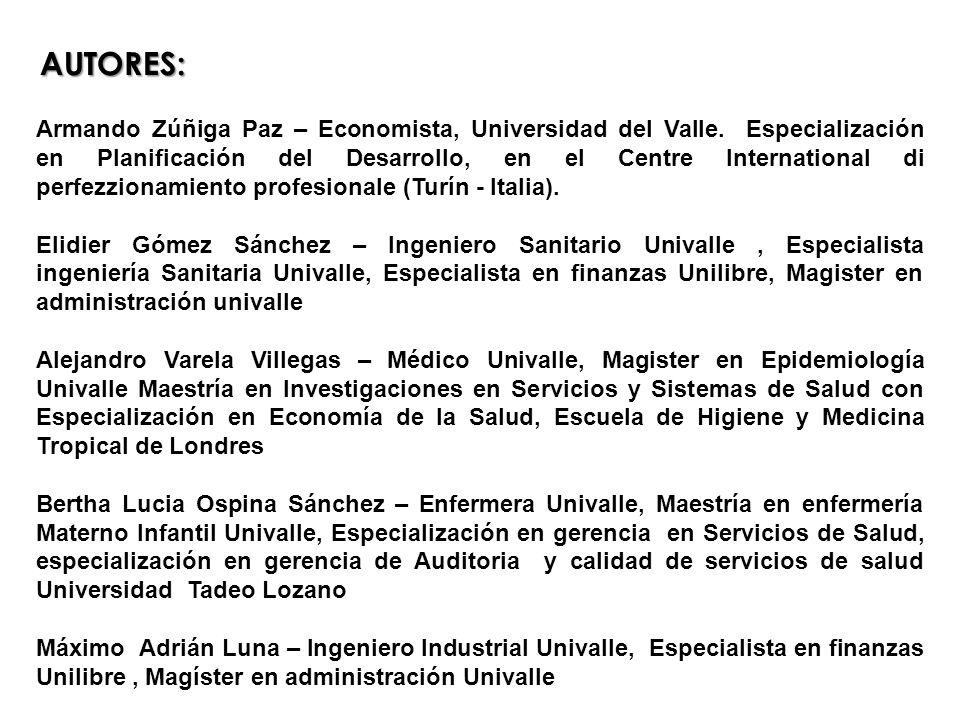 AUTORES: Armando Zúñiga Paz – Economista, Universidad del Valle. Especialización en Planificación del Desarrollo, en el Centre International di perfez