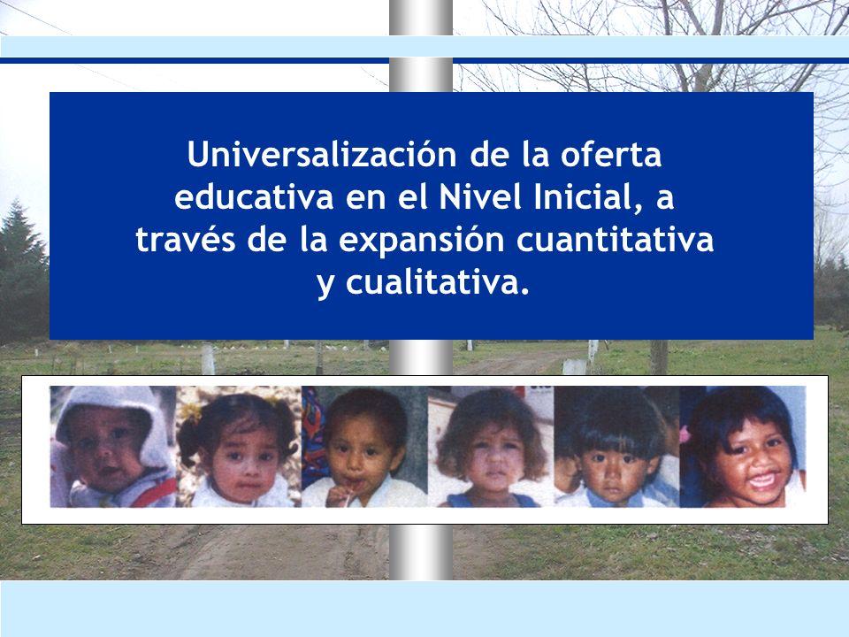 Universalización de la oferta educativa en el Nivel Inicial, a través de la expansión cuantitativa y cualitativa.