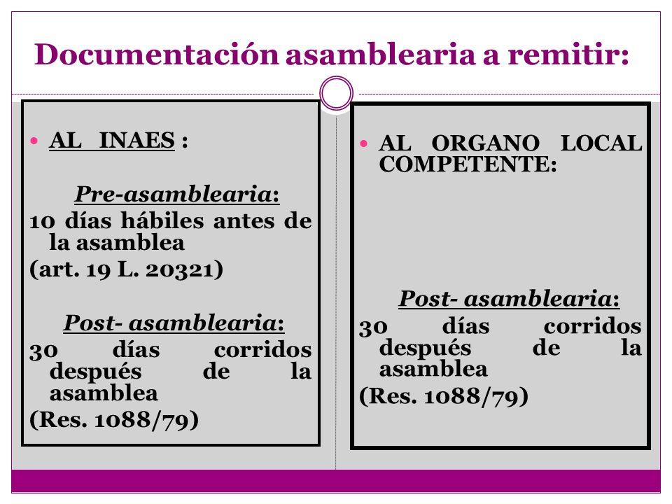 Documentación asamblearia a remitir: AL INAES : Pre-asamblearia: 10 días hábiles antes de la asamblea (art. 19 L. 20321) Post- asamblearia: 30 días co