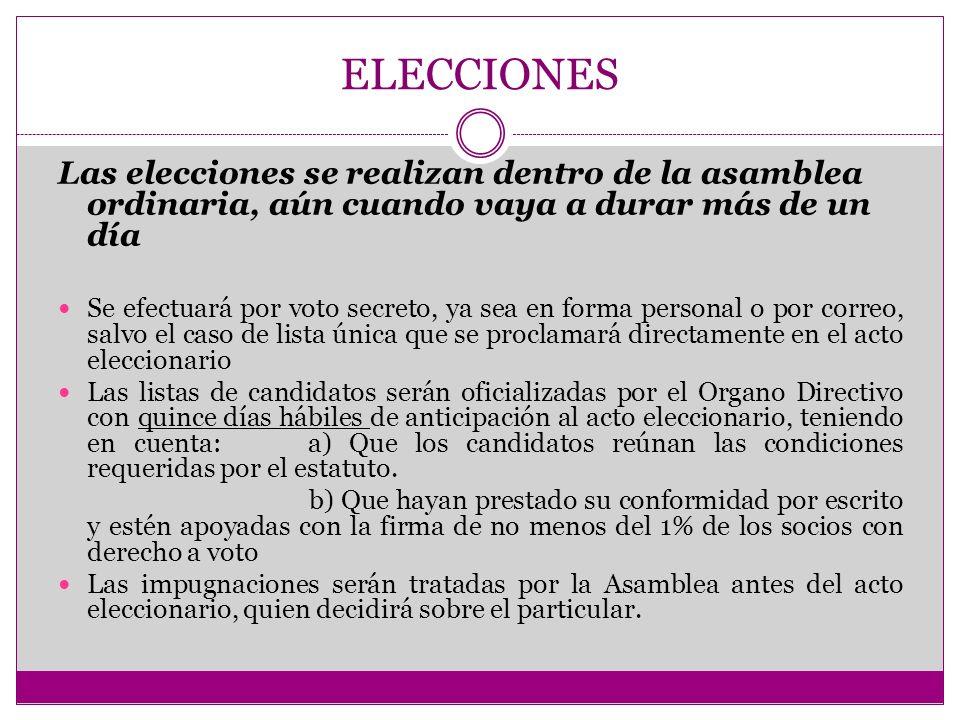 ELECCIONES Las elecciones se realizan dentro de la asamblea ordinaria, aún cuando vaya a durar más de un día Se efectuará por voto secreto, ya sea en