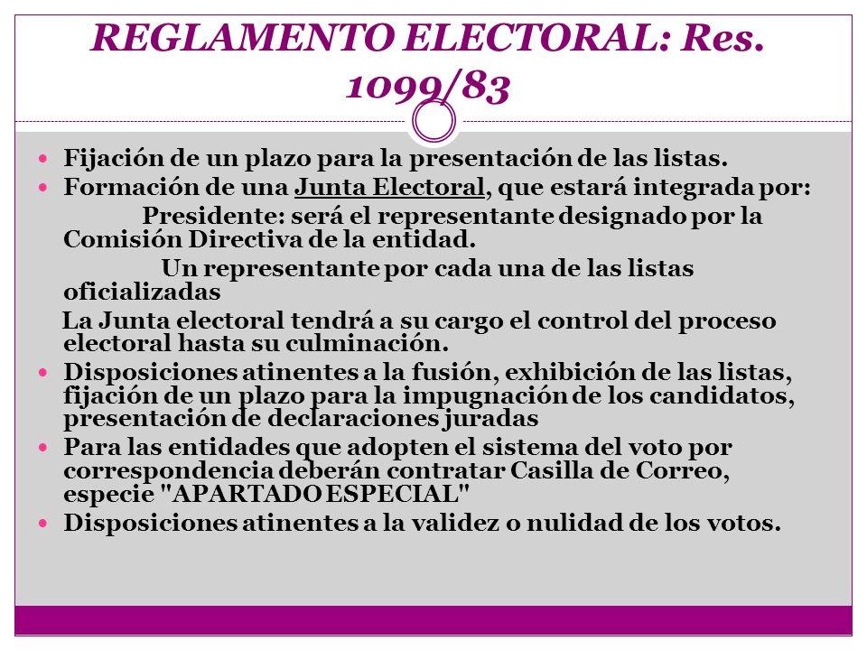REGLAMENTO ELECTORAL: Res. 1099/83 Fijación de un plazo para la presentación de las listas. Formación de una Junta Electoral, que estará integrada por