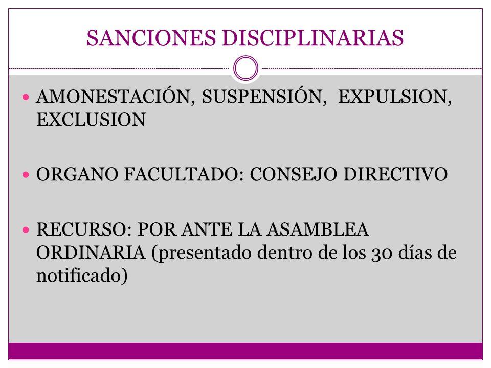SANCIONES DISCIPLINARIAS AMONESTACIÓN, SUSPENSIÓN, EXPULSION, EXCLUSION ORGANO FACULTADO: CONSEJO DIRECTIVO RECURSO: POR ANTE LA ASAMBLEA ORDINARIA (p