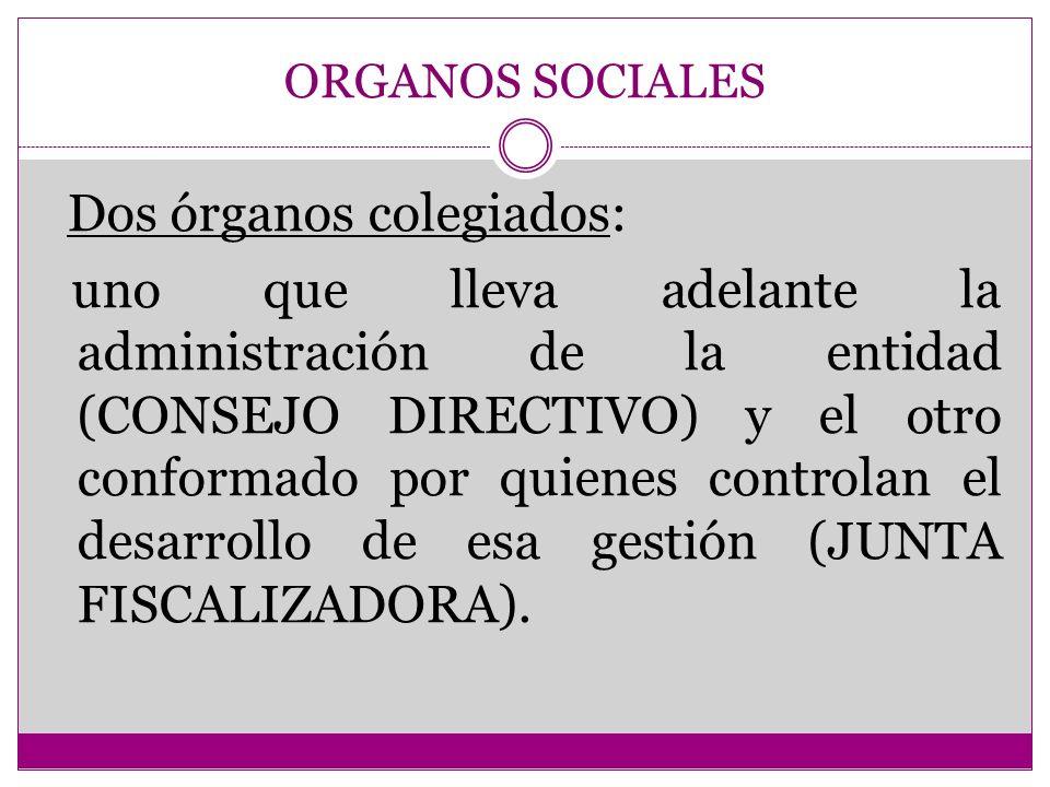 ORGANOS SOCIALES Dos órganos colegiados: uno que lleva adelante la administración de la entidad (CONSEJO DIRECTIVO) y el otro conformado por quienes c