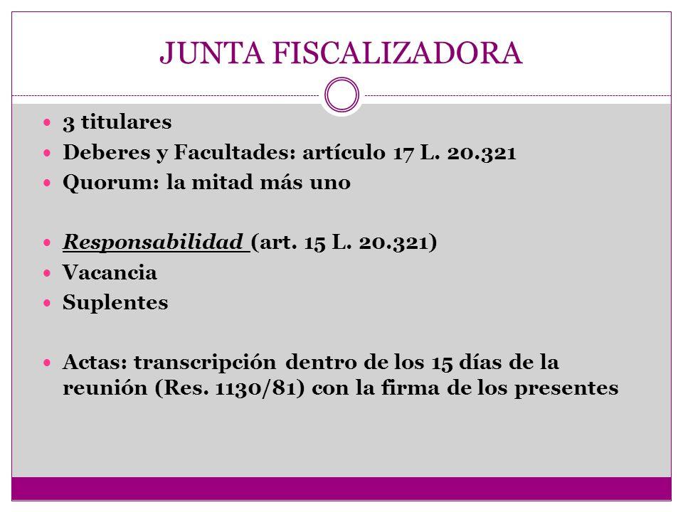JUNTA FISCALIZADORA 3 titulares Deberes y Facultades: artículo 17 L. 20.321 Quorum: la mitad más uno Responsabilidad (art. 15 L. 20.321) Vacancia Supl