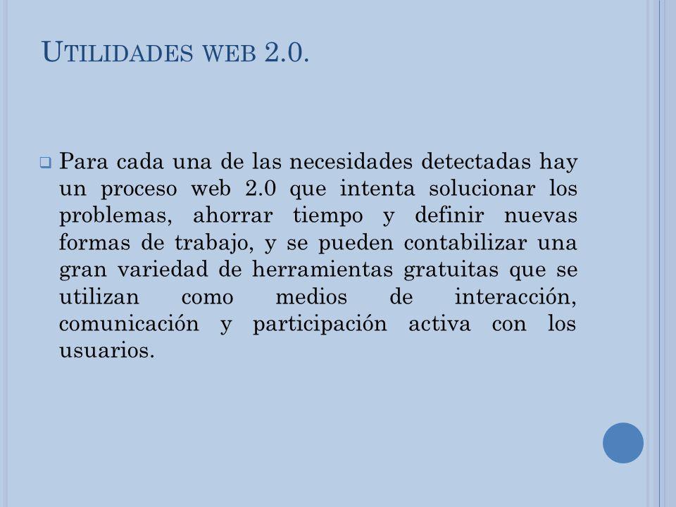 U TILIDADES WEB 2.0. Para cada una de las necesidades detectadas hay un proceso web 2.0 que intenta solucionar los problemas, ahorrar tiempo y definir