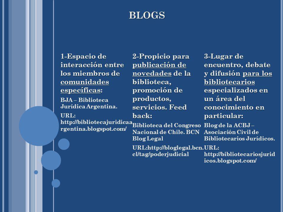 BLOGS 1-Espacio de interacción entre los miembros de comunidades específicas: BJA – Biblioteca Jurídica Argentina. URL: http://bibliotecajuridicaa rge