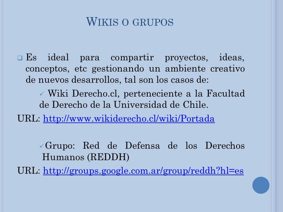 W IKIS O GRUPOS Es ideal para compartir proyectos, ideas, conceptos, etc gestionando un ambiente creativo de nuevos desarrollos, tal son los casos de: