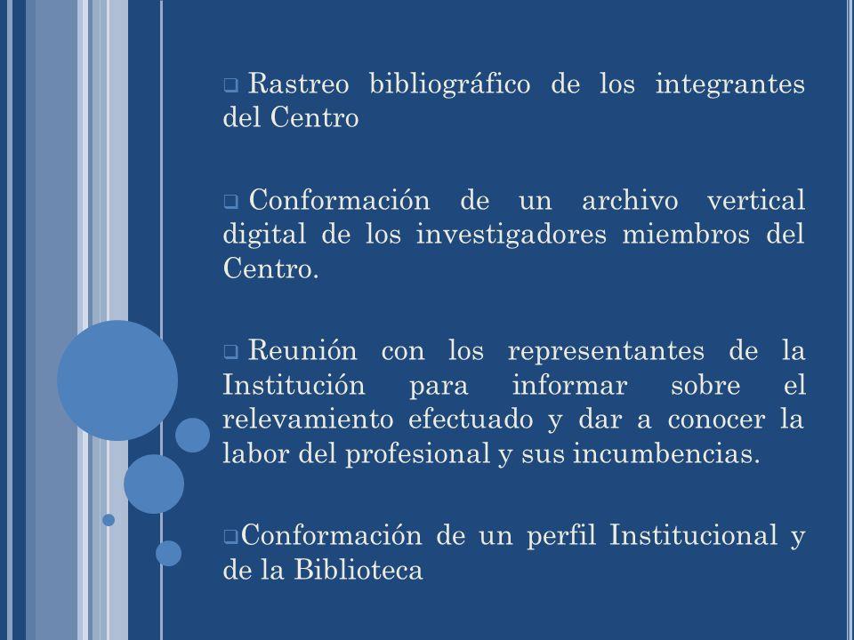 Rastreo bibliográfico de los integrantes del Centro Conformación de un archivo vertical digital de los investigadores miembros del Centro. Reunión con