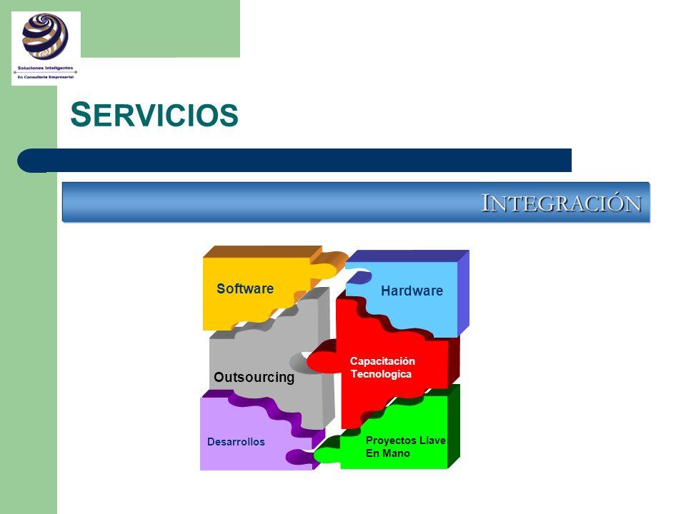 S ERVICIOS I NTEGRACIÓN Software Outsourcing Desarrollos Proyectos Llave En Mano Capacitación Tecnologica Hardware