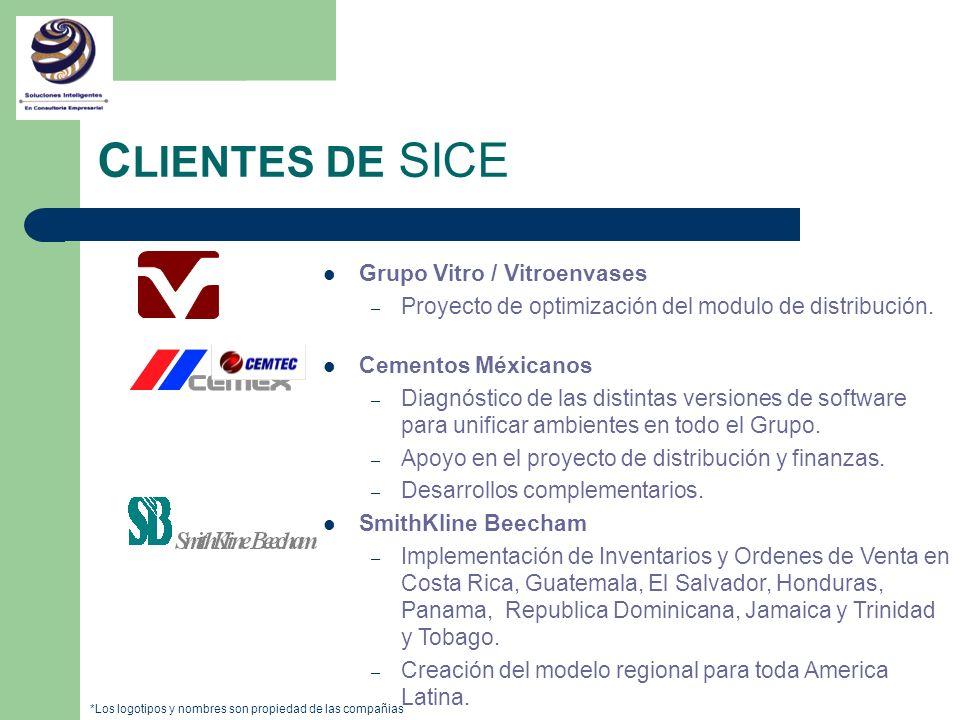 C LIENTES DE SICE Grupo Vitro / Vitroenvases – Proyecto de optimización del modulo de distribución. Cementos Méxicanos – Diagnóstico de las distintas