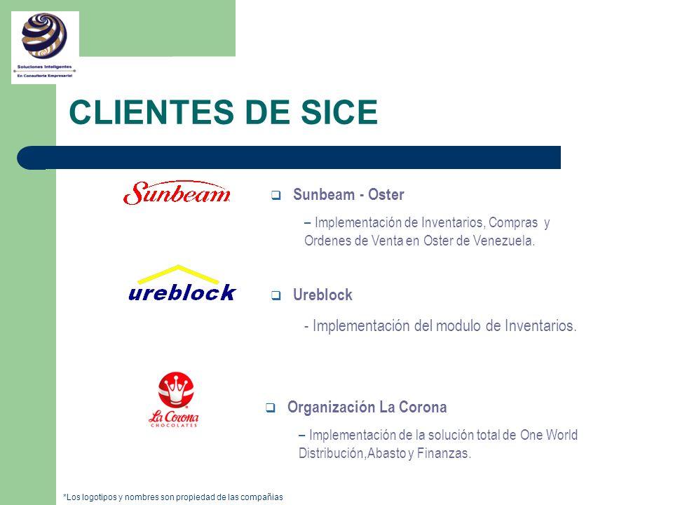 q Sunbeam - Oster – Implementación de Inventarios, Compras y Ordenes de Venta en Oster de Venezuela. q Ureblock - Implementación del modulo de Inventa