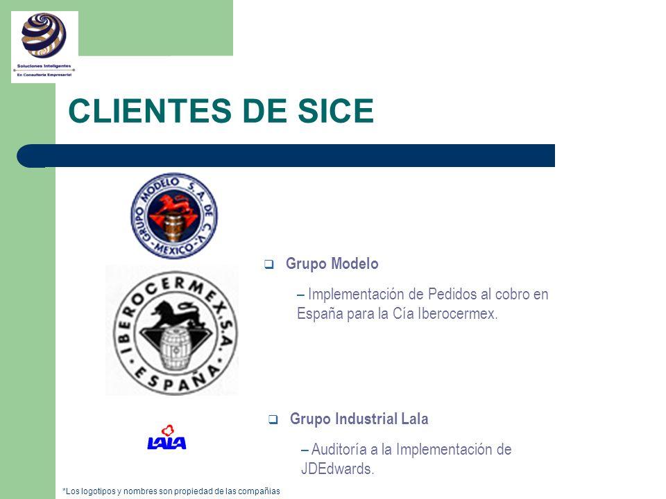 q Grupo Modelo – Implementación de Pedidos al cobro en España para la Cía Iberocermex. q Grupo Industrial Lala – Auditoría a la Implementación de JDEd