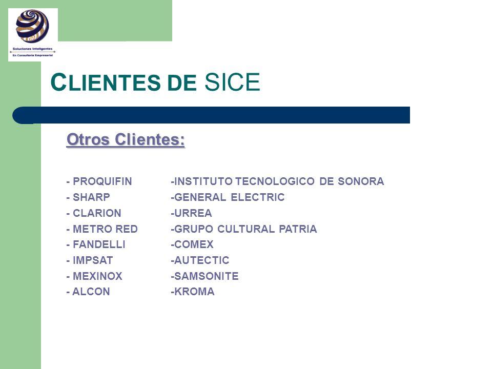 C LIENTES DE SICE Otros Clientes: - PROQUIFIN -INSTITUTO TECNOLOGICO DE SONORA - SHARP -GENERAL ELECTRIC - CLARION -URREA - METRO RED -GRUPO CULTURAL