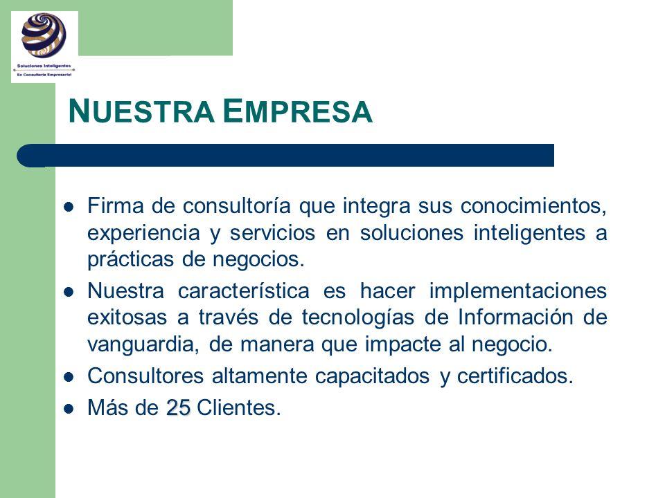 N UESTRA E MPRESA Firma de consultoría que integra sus conocimientos, experiencia y servicios en soluciones inteligentes a prácticas de negocios. Nues