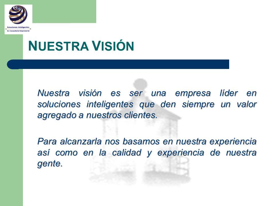 N UESTRA V ISIÓN Nuestra visión es ser una empresa líder en soluciones inteligentes que den siempre un valor agregado a nuestros clientes. Para alcanz
