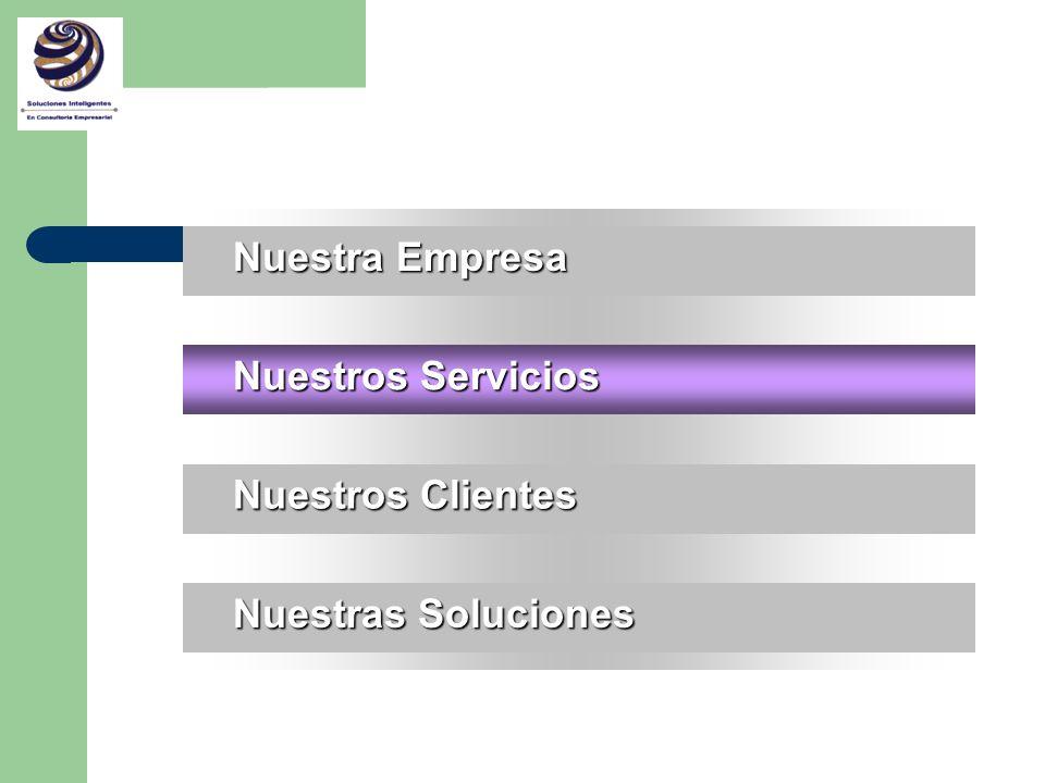 S ERVICIOS B E N E F I C I O S INTEGRACION TOTAL DE LA EMPRESA INTEGRACION TOTAL DE LA EMPRESA IMPLEMENTACION DE PRODUCTOS COMPLEMENTARIOS ( Front Office ) RESOLVER EN FORMA INTEGRAL PROBLEMAS DE NEGOCIOS ADMINISTRACION DEL CAMBIO TRANSFORMAR LA ORGANIZACION REDISEÑO DE PROCESOS DE NEGOCIO ORIENTADOS AL CLIENTE FINAL DESARROLLO DE DIFERENCIADORES Y DE VENTAJAS COMPETITIVAS IMPLEMENTACION DE JDEdwards EN TIEMPO Y PRESUPUESTO