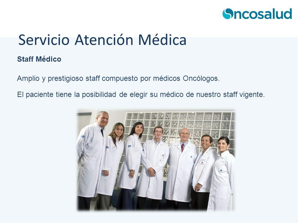 Staff Médico Amplio y prestigioso staff compuesto por médicos Oncólogos. El paciente tiene la posibilidad de elegir su médico de nuestro staff vigente